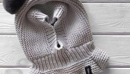 Детская шапка шлем (Вязание спицами)