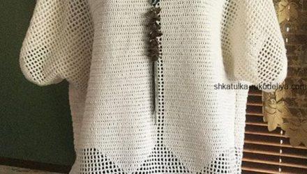 Туника с имитацией жилета (Вязание крючком)