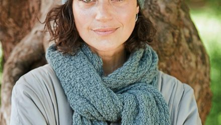 Бирюзовый комплект из шапки и шарфа